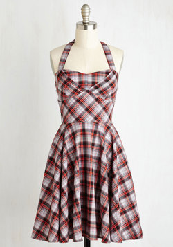 Traveling Cake Pop Truck Dress in Paprika Plaid