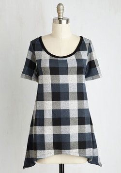 By and Lodge Top in Blue Plaid