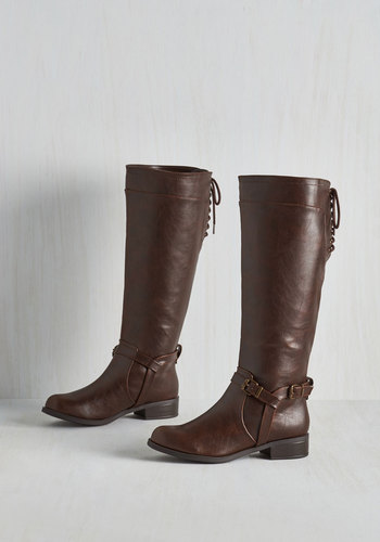 Steadfast Style Boot in Brown - Brown, Solid, Buckles, Steampunk, Casual, Fall, Low, Faux Leather, Basic, Press Placement, Best Seller, Knee