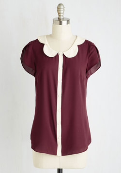 Teacher's Petal Top in Burgundy