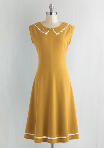 Author Outings Dress in Goldenrod by ModCloth - Yellow, White, Solid, Peter Pan Collar, Casual, A-line, Cap Sleeves, Collared, Vintage Inspired, Nautical, Exclusives, Private Label, Press Placement, Long, Colorsplash