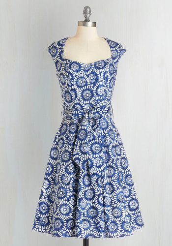 High Noon Harvest Dress in Blue Floral - Blue, White, Floral, Belted, Party, Cap Sleeves, Woven, Better, Sweetheart, Fit & Flare, Cotton, Variation, Daytime Party, Summer, Top Rated, Full-Size Run, Long