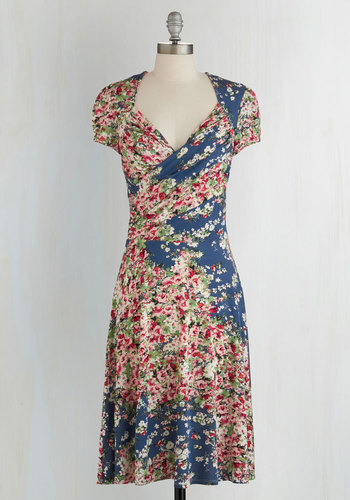 Kelly's Vivid in the Moment Dress in Garden - Multi, Floral, A-line, Cap Sleeves, Knit, Better, Variation, V Neck, Blue, Work, Wrap, Casual, Long