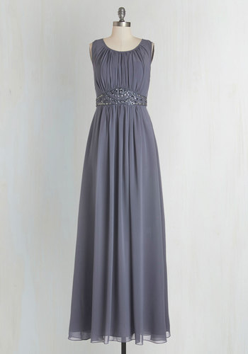 Sweep Into the Room Dress - Grey, Beads, Rhinestones, Sequins, Special Occasion, Maxi, Sleeveless, Woven, Best, Scoop, Chiffon, Mixed Media, Wedding, Bridesmaid