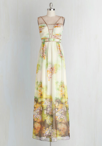Waltz this Way Dress - Multi, Floral, Beads, Special Occasion, Prom, Maxi, Sleeveless, Summer, Woven, Better, Long