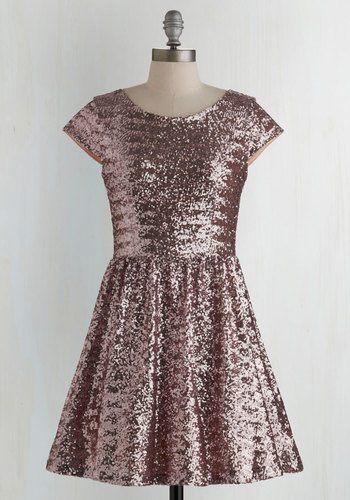 Shimmer and Sparkle Dress - Pink, Sequins, A-line, Cap Sleeves, Woven, Better, Scoop, Statement, Party, Homecoming, Solid, Holiday Party, Press Placement, Special Occasion, Prom