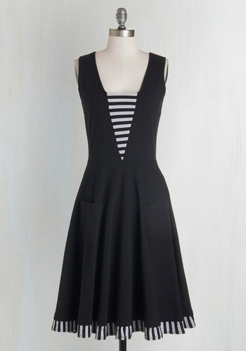 Sailboat-load of Fun Dress in Black by Effie's Heart - White, Stripes, Trim, Casual, Nautical, A-line, Sleeveless, Knit, Better, Scoop, Cotton, Black, Pockets, Variation, Full-Size Run, Long