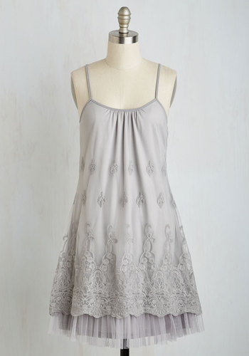 Get this Soiree Started Dress - Grey, Solid, Party, Tent / Trapeze, Woven, Lace, Good, Scoop, Tulle, Mid-length, Embroidery, Tiered, Spaghetti Straps, Boho, Vintage Inspired, 20s