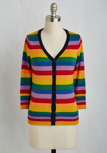 Charter School Cardigan in Rainbow - Multi, Stripes, Buttons, Red, Orange, Yellow, Green, Blue, Purple, Casual, Kawaii, 3/4 Sleeve, Basic, Best Seller, Fall, Exclusives, Mid-length