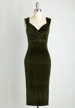 Lady Love Song Dress in Olive Velvet