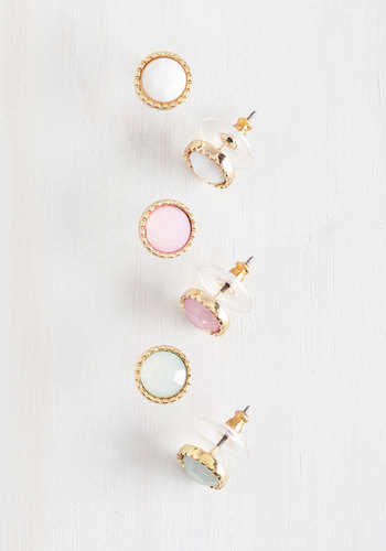 Pastel Perfection Earring Set - Pink, White, Mint, Solid, Trim, Casual, Pastel, Spring, Gold, Daytime Party, Top Rated
