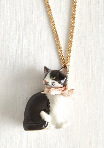 As Purr Usual Necklace - Pink, Print with Animals, Bows, Cats, Better, International Designer, Black, White, Gold
