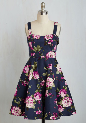 Pull Up a Cherry Dress in Navy Bouquet $69.99 AT vintagedancer.com