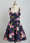 Pull Up a Cherry Dress in Navy Bouquet
