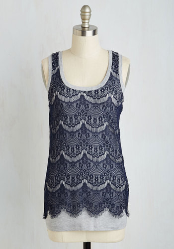 Byham Top - Lace, Tank top (2 thick straps), Blue, Grey, Mid-length, Blue, Sleeveless, Lace