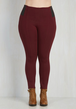 Beautifully Busy Pants in Burgundy - 1X-3X