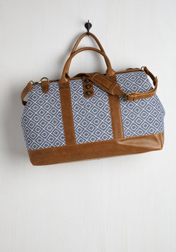 Revivals and Departures Weekend Bag in Blue and White