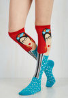 Frida Be Me Socks in Red and Teal