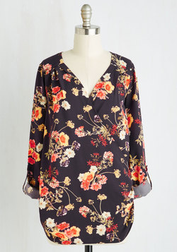 Elegant Epiphany Top in Navy Floral