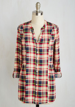 Trusty Travel Top in Red Plaid