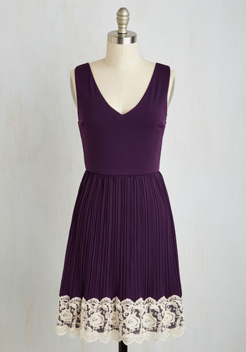 Personal Essayist Dress in Purple - Purple, Tan / Cream, Solid, Casual, A-line, Sleeveless, Fall, Knit, Good, Mid-length