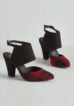Steppin' Haute Heel in Red Plaid