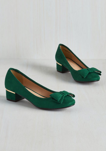 Can You Bow-lieve It Heel in Emerald $49.99 AT vintagedancer.com