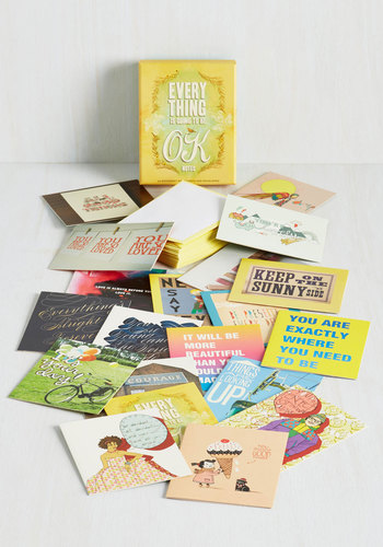 Everything Is Going To Be OK Notecard Set by Chronicle Books - Multi, Good, Hostess, Under $20, Top Rated, Gifts2015, Yellow, Store 1