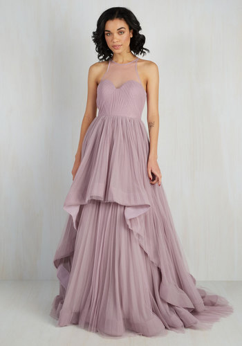 Heiress of Them All Maxi Dress - Solid, Pleats, Special Occasion, Prom, Wedding, Holiday Party, Homecoming, Maxi, Sleeveless, Woven, Best, Fit & Flare, Long, Purple, Bride, Tiered, Spring, Summer, Winter, Sweetheart