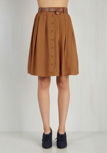 Nutmeg Latte Skirt - Brown, Solid, Buttons, Pockets, Belted, Good, Woven, Mid-length, Casual, Safari, Best Seller, Pleats, Scholastic/Collegiate, Fall, 4th of July Sale, Exclusives, A-line