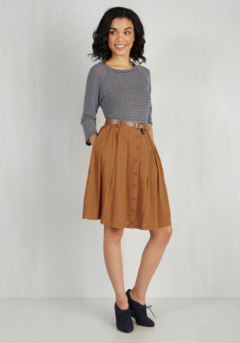 Nutmeg Latte Skirt - Brown, Solid, Buttons, Pockets, Belted, Good, Woven, Mid-length, Casual, Safari, Best Seller, Pleats, Scholastic/Collegiate, Fall, 4th of July Sale, Exclusives, A-line, Work, High Waist, Best Seller