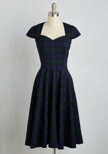 Deans List Diva Dress in Navy Plaid $94.99 AT vintagedancer.com