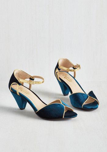 Curiosity Heel in Sapphire Velvet $94.99 AT vintagedancer.com