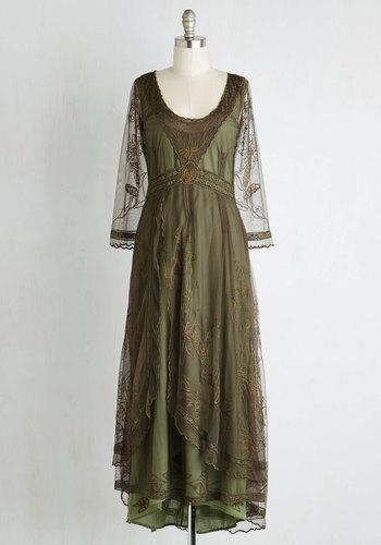 Wine Cellar Celebration Dress in Olive $259.99 AT vintagedancer.com