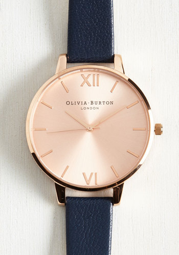 Undisputed Class Watch in Navy & Rose Gold - Big by Olivia Burton - Luxe, Gold, Leather, Blue, Minimal, Variation, Nautical