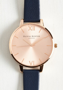 Undisputed Class Watch in Navy & Rose Gold - Big