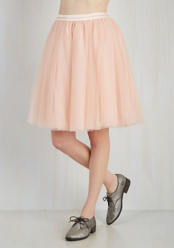 Turning in Tulle Skirt in Peach - Solid, Pastel, Pink, Best Seller, Spring, Summer, Full, Press Placement, 4th of July Sale, Top Rated, Special Occasion, Mid-length, Fall, Winter, Valentine's