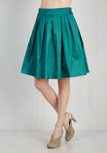 Party Planner Extraordinaire Skirt in Teal - Satin, Woven, Solid, Pleats, Holiday Party, Vintage Inspired, 80s, Luxe, Better, Blue, Blue, Party, Ballerina / Tutu, Mid-length