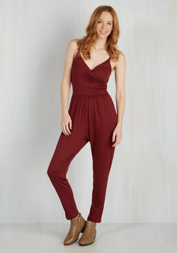Slicker Than Your Average Jumpsuit in Burgundy