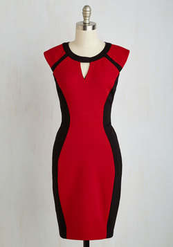 Black, Write, and Red All Over Dress