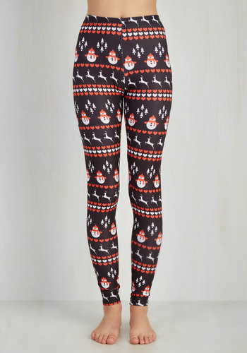 Wintry Wonder Leggings - Knit, Black, Novelty Print, Holiday, Vintage Inspired, 90s, Quirky, Skinny, Good, Mid-Rise, Ankle, Winter, Top Rated, Gifts2015, Exclusives, Lounge, Print, Casual