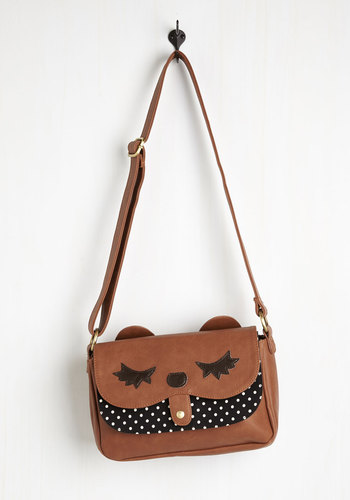 Pick of the Critter Bag - Brown, Black, White, Polka Dots, Print with Animals, Casual, Critters, Brown, Quirky, Fall, Top Rated