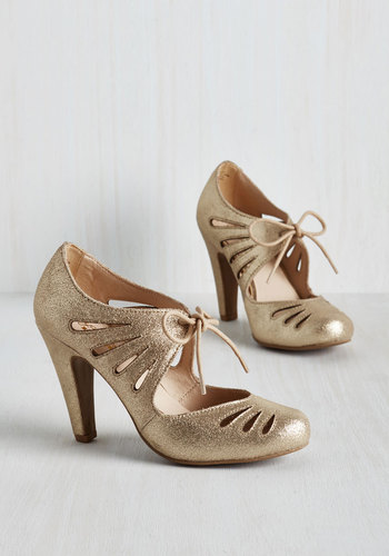 Brave Heel in Gold $99.99 AT vintagedancer.com