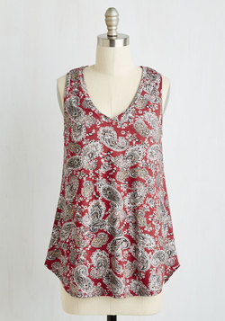 Infinite Options Top in Red Paisley