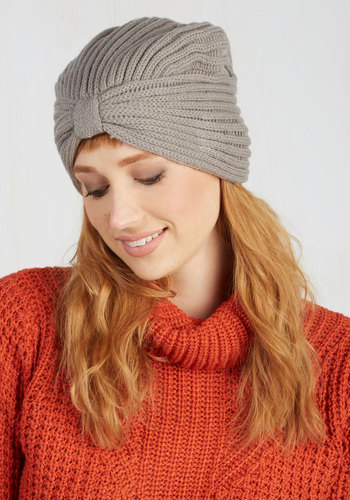 Where There's a Chill Hat in Grey - Grey, Solid, Bows, Fall, Winter, Better, Knit, Variation, 20s, Cozy2015