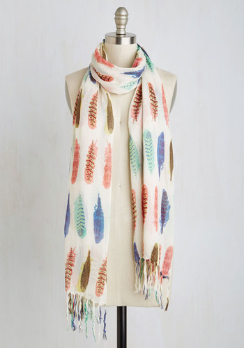 Prettiest Girl in the Plume Scarf - Multi, Print, Fringed, Casual, Boho, Better, Cotton, White, Feathers, Top Rated