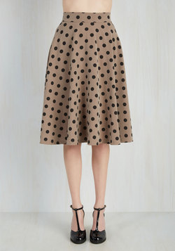 Bugle Joy Skirt in Khaki Dots