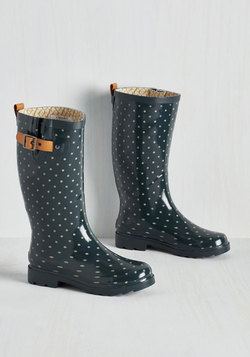 Puddle Jumper Rain Boot in Teal Dots