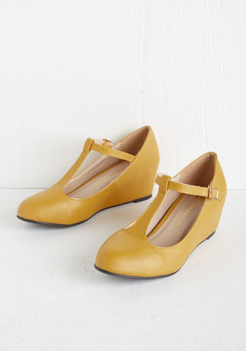 Haute Harmony Wedge in Mustard - Mid, Faux Leather, Yellow, Solid, Daytime Party, Vintage Inspired, 40s, Good, Wedge, T-Strap