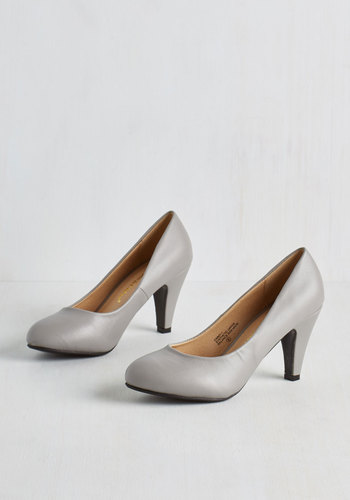 In a Classic of Its Own Heel in Grey - Faux Leather, Grey, Solid, Prom, Party, Graduation, Minimal, Good, Variation, Basic, Social Placements, Spring, Work, High